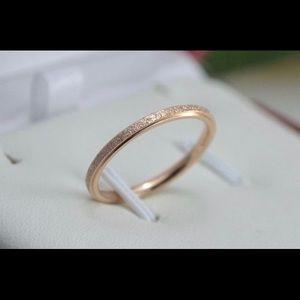 2mm Rose Gold Sandblast ring titanium Wedding Band